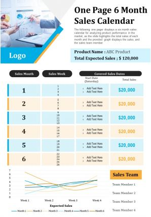 One Page 6 Month Sales Calendar Presentation Report Infographic PPT PDF Document