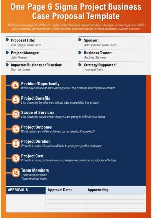 One Page 6 Sigma Project Business Case Proposal Template Presentation Report Infographic PPT PDF Document