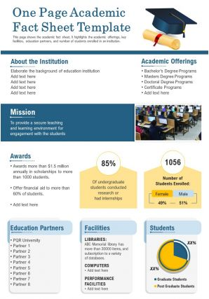 One Page Academic Fact Sheet Template Presentation Report Infographic PPT PDF Document
