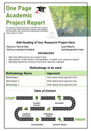 One Page Academic Project Report Presentation Report Infographic PPT PDF Document
