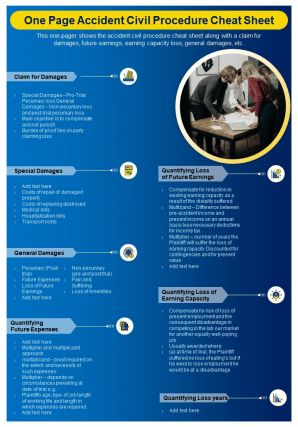 One Page Accident Civil Procedure Cheat Sheet Presentation Report Infographic PPT PDF Document