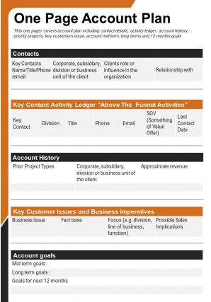 One Page Account Plan Presentation Report Infographic PPT PDF Document