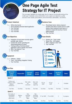 One Page Agile Test Strategy For IT Project Presentation Report Infographic PPT PDF Document