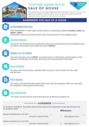 One Page Agreement For Sale Of House Presentation Report Infographic PPT PDF Document