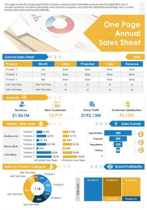 One Page Annual Sales Sheet Presentation Report Infographic PPT PDF Document