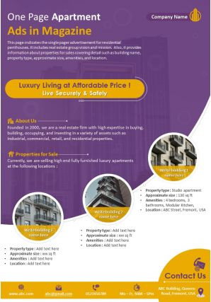 One Page Apartment Ads In Magazine Presentation Report Infographic PPT PDF Document