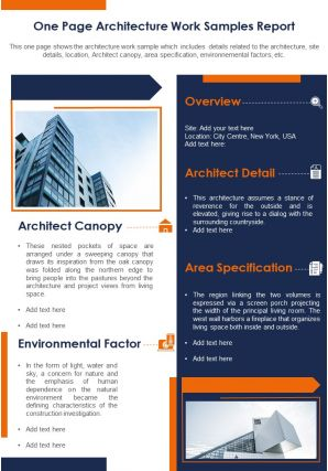 One Page Architecture Work Samples Report Presentation Report Infographic PPT PDF Document