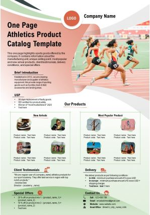 One Page Athletics Product Catalog Template Presentation Report Infographic PPT PDF Document
