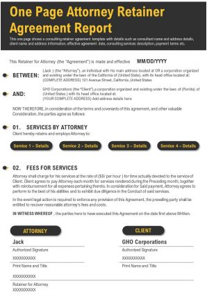 One Page Attorney Retainer Agreement Report Presentation Report Infographic PPT PDF Document