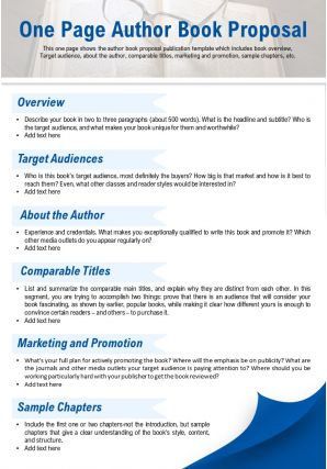 One Page Author Book Proposal Presentation Report Infographic PPT PDF Document