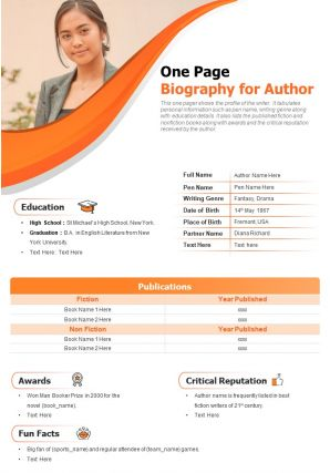 One Page Biography For Author Presentation Report Infographic PPT PDF Document