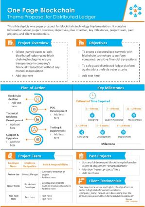 One Page Blockchain Theme Proposal For Distributed Ledger Presentation Report Infographic PPT PDF Document