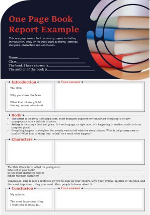One Page Book Report Example Presentation Report Infographic Ppt Pdf Document