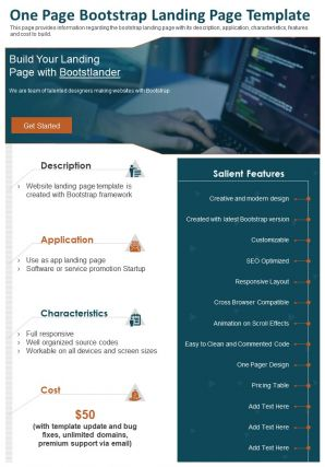 One Page Bootstrap Landing Page Template Presentation Report Infographic PPT PDF Document