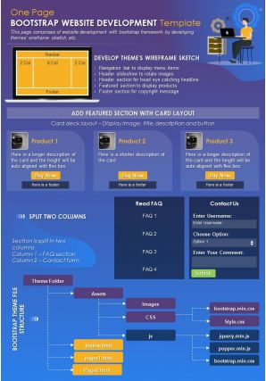 One Page Bootstrap Website Development Template Presentation Report Infographic PPT PDF Document