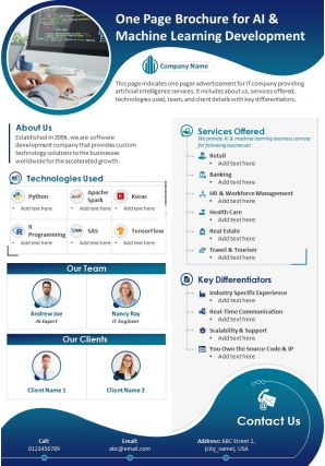 One Page Brochure For AI And Machine Learning Development Presentation Report Infographic PPT PDF Document