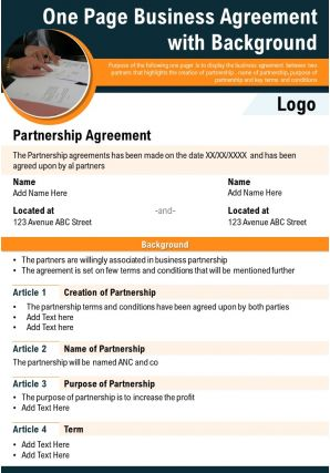 One Page Business Agreement With Background Presentation Report Infographic PPT PDF Document