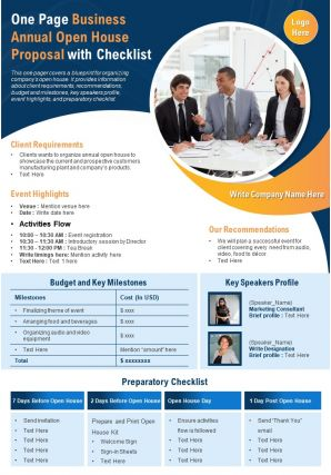 One Page Business Annual Open House Proposal With Checklist Presentation Report Infographic PPT PDF Document
