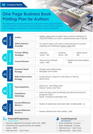One Page Business Book Printing Plan For Authors Presentation Report Infographic PPT PDF Document