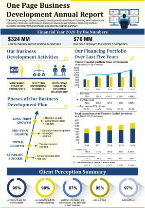 One Page Business Development Annual Report Presentation Report Infographic PPT PDF Document