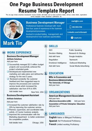 One Page Business Development Resume Template Report Presentation Report Infographic PPT PDF Document