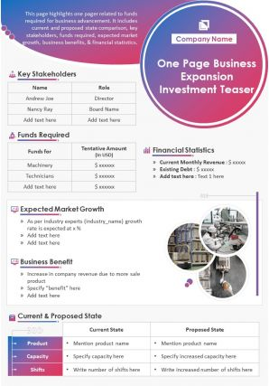 One Page Business Expansion Investment Teaser Presentation Report Infographic PPT PDF Document