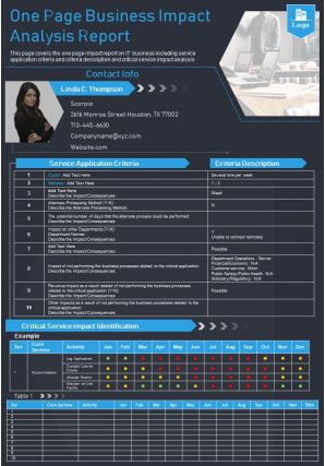 One Page Business Impact Analysis Report Presentation Report Infographic PPT PDF Document