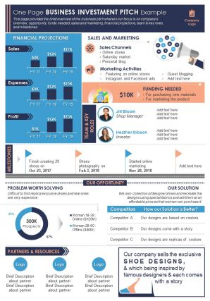 One Page Business Investment Pitch Example Presentation Report Infographic PPT PDF Document