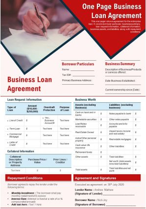 One Page Business Loan Agreement Presentation Report Infographic PPT PDF Document