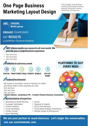 One Page Business Marketing Layout Design Presentation Report Infographic PPT PDF Document