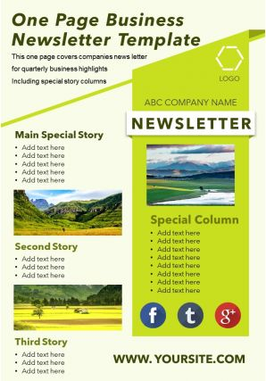 One Page Business Newsletter Template Presentation Report Infographic PPT PDF Document