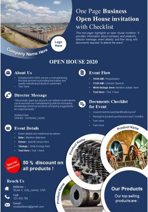 One Page Business Open House Invitation With Checklist Presentation Report Infographic PPT PDF Document
