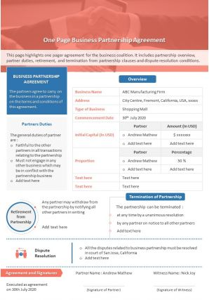 One Page Business Partnership Agreement Presentation Report Infographic PPT PDF Document