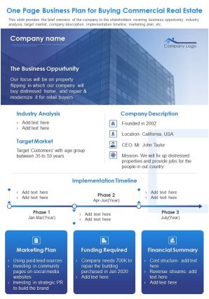 One Page Business Plan For Buying Commercial Real Estate Document PPT PDF Doc Printable