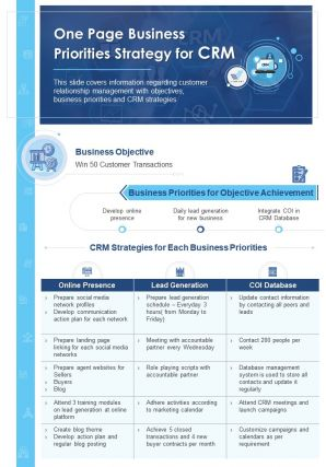 One Page Business Priorities Strategy For CRM Document PPT PDF Doc Printable