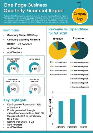 One Page Business Quarterly Financial Report Presentation Report Infographic PPT PDF Document