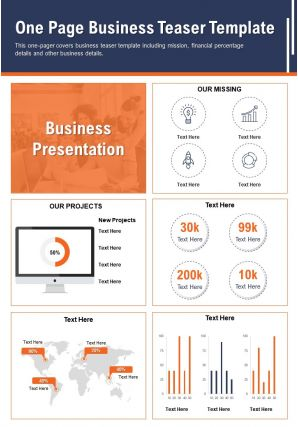 One Page Business Teaser Template Presentation Report Infographic PPT PDF Document