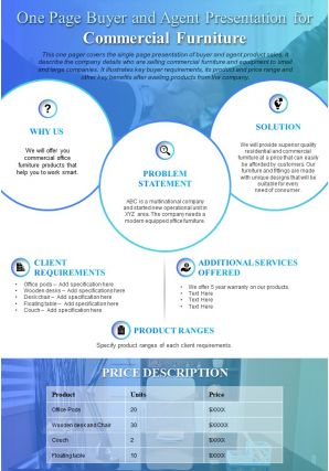 One Page Buyer And Agent Presentation For Commercial Furniture Presentation Report Infographic PPT PDF Document