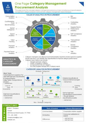 One Page Category Management Procurement Presentation Report Infographic PPT PDF Document
