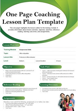 One Page Coaching Lesson Plan Template Presentation Report Infographic PPT PDF Document