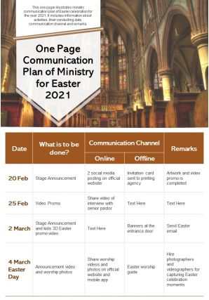 One Page Communication Plan Of Ministry For Easter 2021 Presentation Report Infographic PPT PDF Document