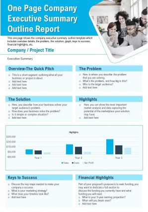 One Page Company Executive Summary Outline Report Presentation Report Infographic PPT PDF Document