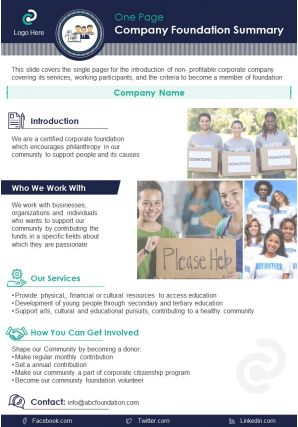 One Page Company Foundation Summary Presentation Report Infographic PPT PDF Document