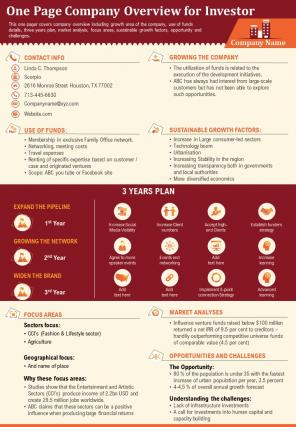 One Page Company Overview For Investor Presentation Report Infographic PPT PDF Document