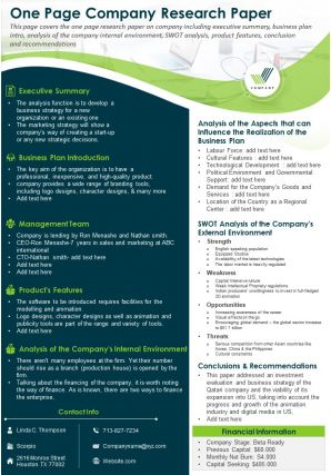 One Page Company Research Paper Presentation Report Infographic PPT PDF Document