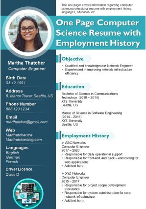 One Page Computer Science Resume With Employment History Presentation Report Infographic PPT PDF Document