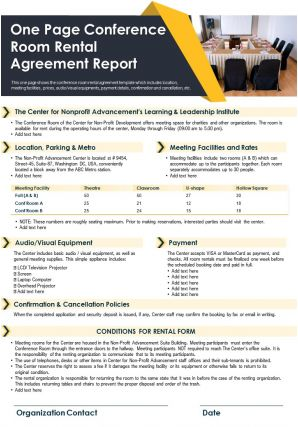 One Page Conference Room Rental Agreement Report Presentation PPT PDF Document