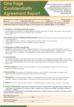 One Page Confidentiality Agreement Report Presentation Report Infographic PPT PDF Document