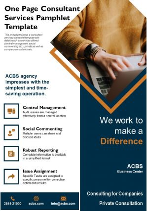 One Page Consultant Services Pamphlet Template Presentation Report Infographic PPT PDF Document