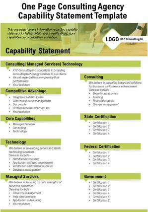 One Page Consulting Agency Capability Statement Template Presentation Report Infographic PPT PDF Document